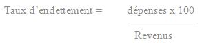 Formule de calcul du Taux Endettement